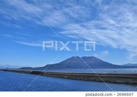 Sakurajima floating in Kanie Bay on fine weather 2696607