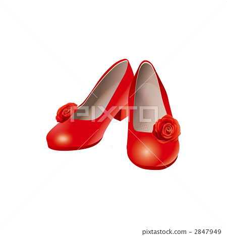 Illustration of red pumps with rose motif 2847949