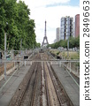 Eiffel tower seen from the track of RER 2849663