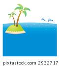 바다에 떠있는 고도와 돌고래의 일러스트 2932717