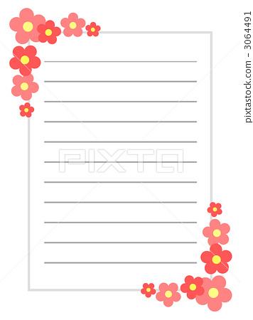 すべての講義 便箋 縦 : 花飾りの便箋 3064491