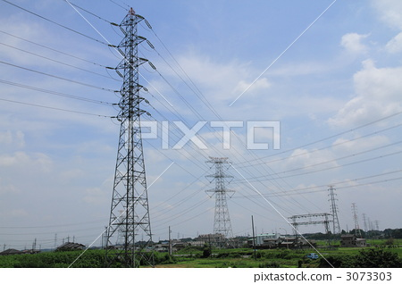 High pressure tower and rural landscape 3073303
