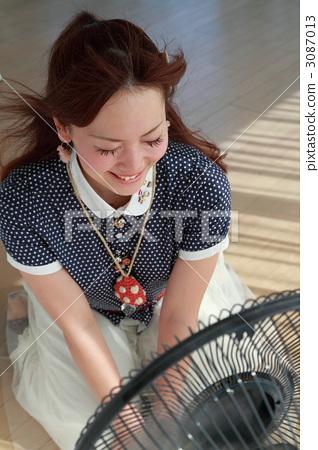 Pretty little girl and fan 3087013
