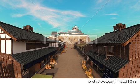 castle tower, tenshukaku, castle town 3131058