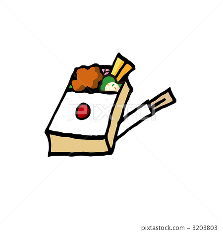 Fried lunch box and disposable chopstick illustration 3203803