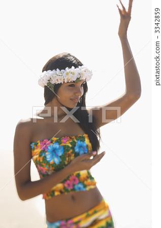 Attractive Hawaiian Woman Dancing 3342859