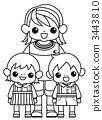 兩個托兒所的孩子和兩個孩子 3443810