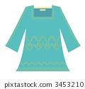 Stitch Embroidery Tunic Dress (Blue Green) 3453210