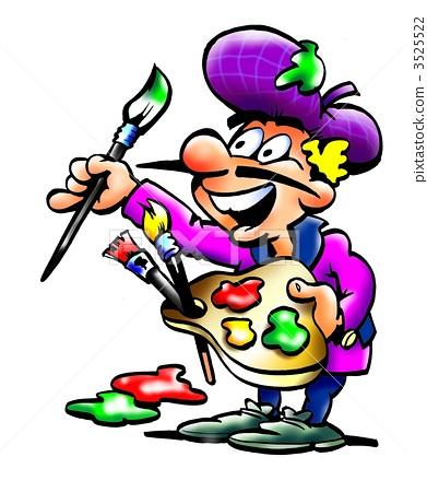 Artist Painter with his color palette 3525522