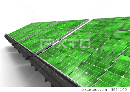 Detail of a line of green solar panels 3634149