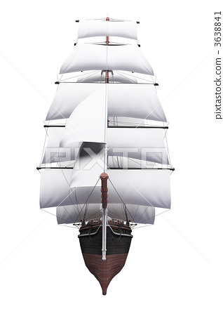 Sailing ship isolated over white 3638841