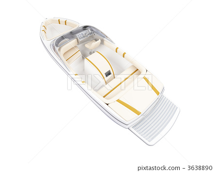 Small Boat isolated back view 3638890