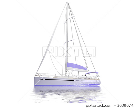 isolated vessel boat with reflections 3639674