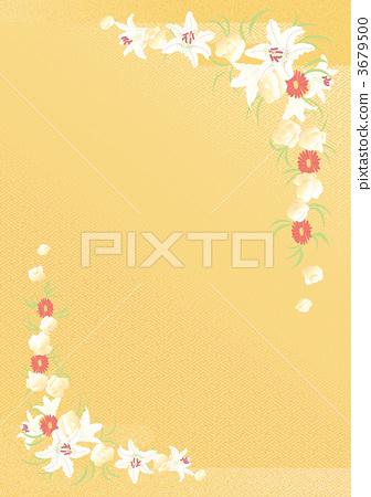 꽃다발을 뿌린 웨딩 기울 배경 노란색 3679500
