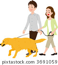 dog, walk, vector 3691059