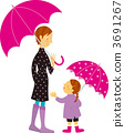 Parent and child walking with an umbrella 3691267