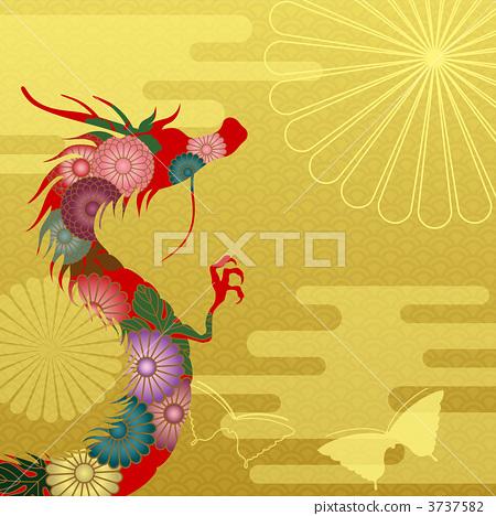 dragon, japanese pattern, dragon (zodiac) - Stock Illustration