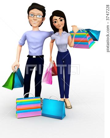 3D shopping couple 3747228