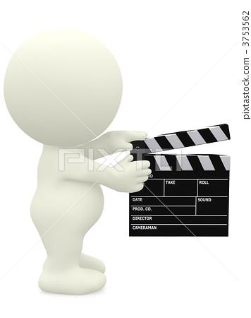 3D man with a film klappe 3753562