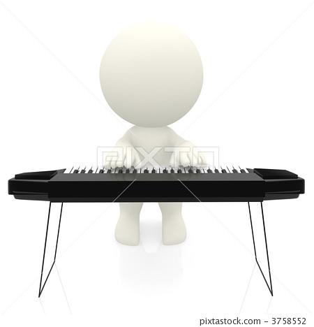 3D man playing keyboard 3758552