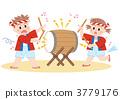 和太鼓を叩く男の子と女の子 3779176