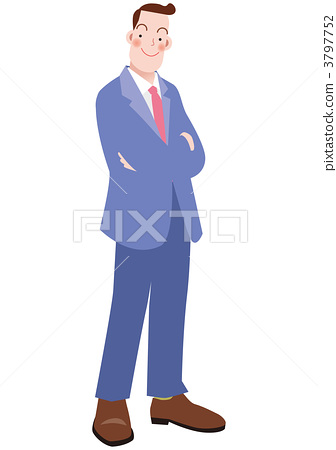A businessman standing with his arms folded 3797752