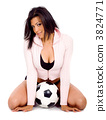 fashion girl with a soccer ball 3824771
