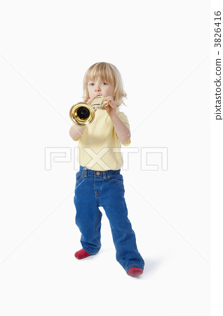 boy with toy trumpet 3826416