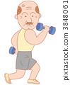 ダンベルで筋トレをする年配の男性 3848061