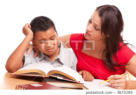 Attractive Hispanic Mother and Son Studying 3870289