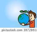 男子手持地球2 3872861