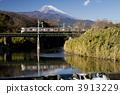 Tokaido line crossing Mt. Fuji and the Kurosegawa River 3913229