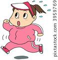 Running fat woman pink 3959769