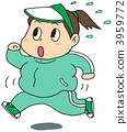 Fat lady running running 3959772
