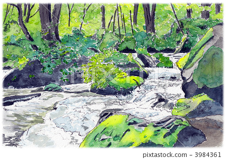 Watercolor picture Oirase stream 3984361