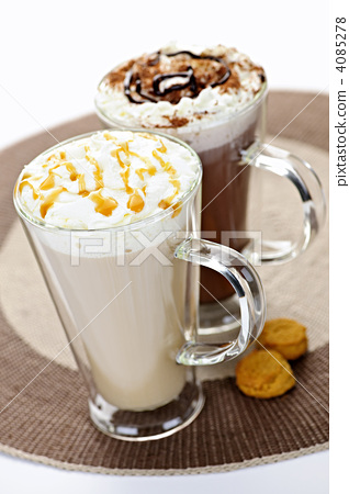 Stock Photo: Hot chocolate and coffee beverages
