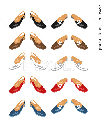 Various shoes, different colors, mules and sandals, low heels 4095896