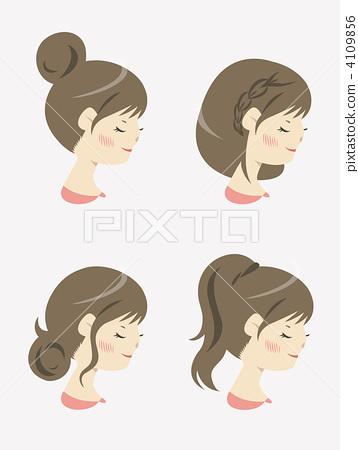 요약 머리의 편곡 4 패턴 세트 (갈색) 4109856