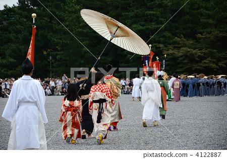 시대 축제에도 시대 여성 열 요시노 다유와 대머리의 뒷모습 4122887