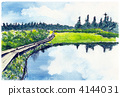 Watercolor picture Hachimantaira 4144031