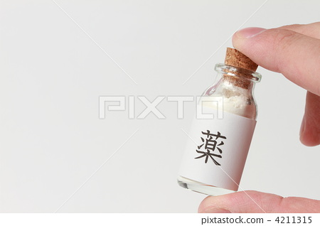 """Hand holding a vial of """"medicine"""" label 4211315"""