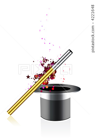 Beautiful vector magic background with wand and hat 4221648