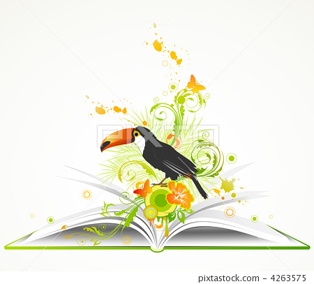 open book with flowers and tropical bird 4263575