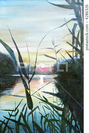 Painting, sunset on the Dnieper 4286326