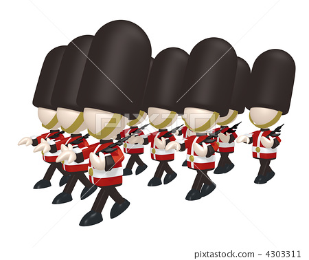 British guards soldier (group marching · horizontal angle) 4303311