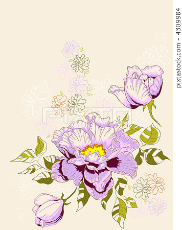 floral background with peony 4309984