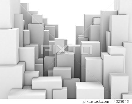 Abstract city of white blocks 4325943