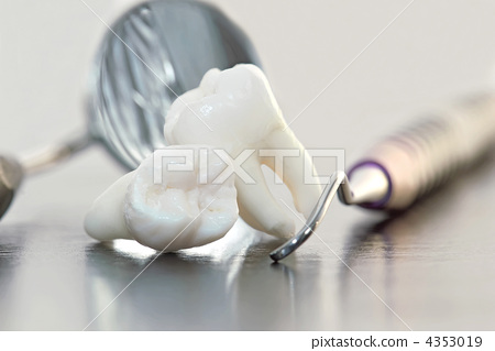 Stock Photo: Real Human Wisdom teeth and Dental instruments