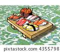 壽司魚的木with(帶桌布) 4355798