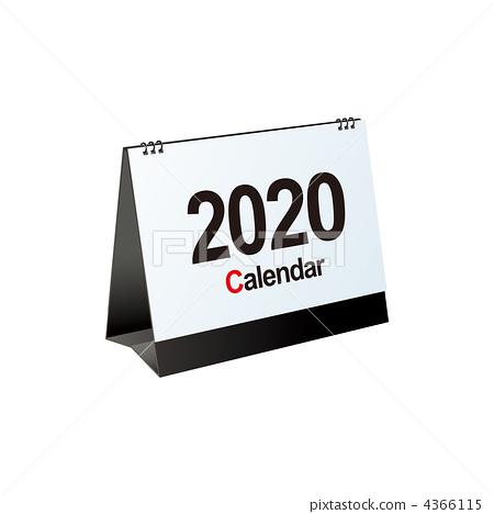 2020年桌面日曆蓋子的例證 4366115